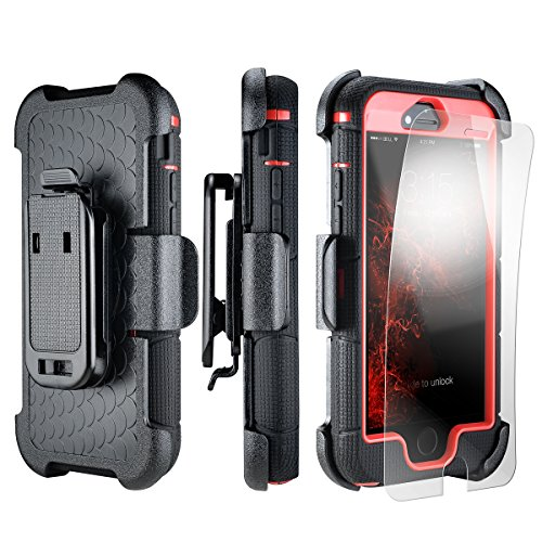 iPhone SE Case, iPhone 5 5s Case [Heavy Duty + Kickstand + BELT CLIP] PowerMoxie with Film Screen Protector [Defender style] Dual Layer durable Protection Cover Iphone 5 5s SE Red Black