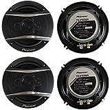 Pioneer 6.5 Inch 4-Way 700W Coaxial Black Speakers (4 Speakers)
