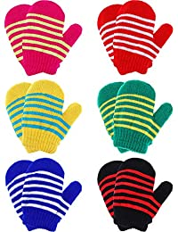 Boao 6 Pairs Stretch Mittens Winter Warm Knitted Gloves for Kids Toddler Supplies (Color Set 1)
