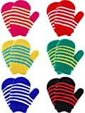 6 Pairs Stretch Mittens Winter Warm Knitted Gloves for Kids Toddler Supplies (Color Set 1)