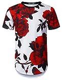URBANTOPS Mens Hipster Hip Hop Big Red Rose Floral Longline T-Shirt White, S