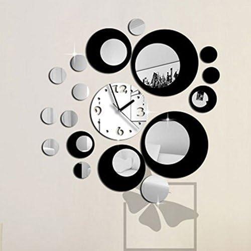 Image ofKicode Negro y Plata Diseño Moderno Etiqueta engomada desprendible de la Pared del Espejo del Reloj del Arte de DIY Decoración del hogar