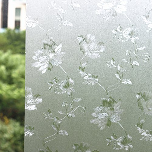 Fofon Privacy Window Film Non-Adhesive Glass Window cling Decorative Static Window Films for Home Bathroom Office Meeting Room Living Room 35.43 By 78.74 Inches