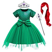 Party Chili Princess Mermaid Costume Birthday Party Dress with Red Wigs and Tiara Wand for Little Girls 5-6 Years (5T 6T)