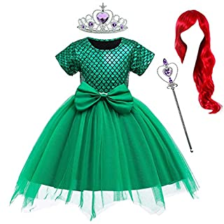 Party Chili Princess Mermaid Costume Birthday Party Dress with Red Wigs and Tiara Wand for Little Girls 4-5 Years (4T 5T)