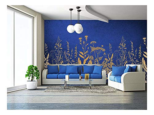 Large Wall Mural Golden Flowers on Blue Background Vinyl Wallpaper Removable Wall Decor