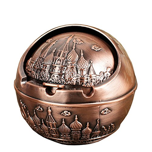 (Honoro Vintage Windproof Ashtray with Lids,Metal Portable Cigarettes Ashtray with Gift Box for Outdoor & Indoor Use,Castle,Red Bronze)