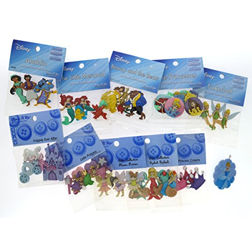 Dress It Up Disney Princess Button Embellishment Assortment - 10 Pack - Includes Free Disney Princess Pendant - 9081