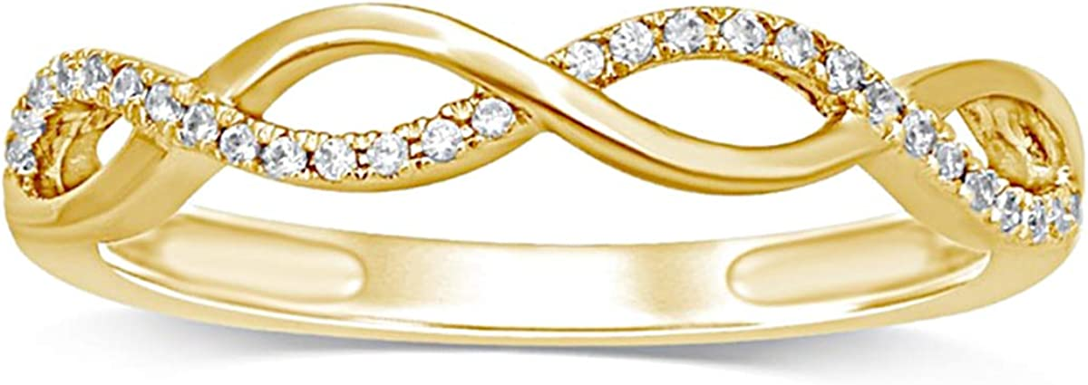 0.15 Ct Round Simulated Diamond Crossover Stackable Ring 14k Yellow Gold 925 Silver Plated