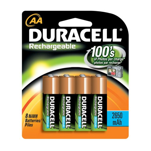 Duracell Rechargeable AA NiMH Batteries, MIGNON/HR6/DC1500, 2450mAh, 8-Count Package (Pack of 2)