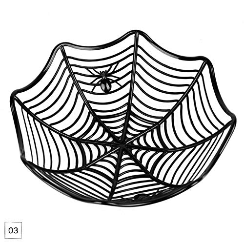 WXLAA Halloween Candy Bowl Basket Fruits Kitchen Party Chocolate Small Serving Bowls Dish Plastic Spider Web Decor Black