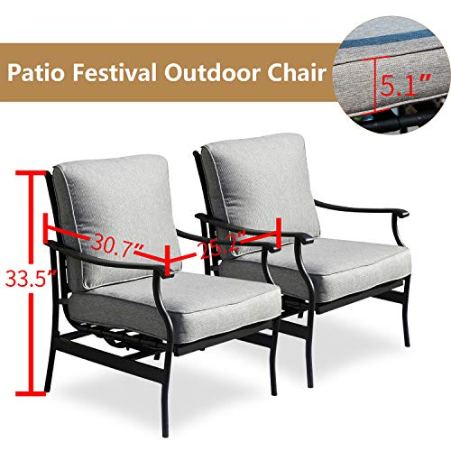 PatioFestival 2 PC Outdoor Padded Conversation Set,Patio Furniture Sets Modern Bistro Cushioned Rocking Sofa Chairs with 5.1 Inch Thick Seat Cushions 2PCS-2, Grey