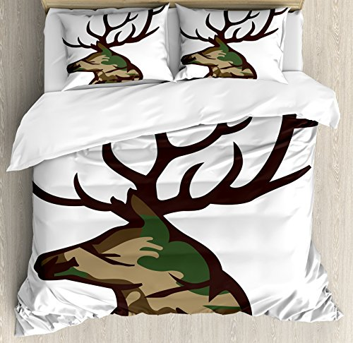(Antler Decor Queen Size Duvet Cover Set by Ambesonne, Stag Deer Portrait with Camouflage Pattern Hunting Decor Hobby Mammal, Decorative 3 Piece Bedding Set with 2 Pillow Shams, Brown Cocoa Green)