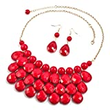 DemiJewelry Bubble Teardrop Bead Bib Collar Red Statement Necklace Earrings Set for Women