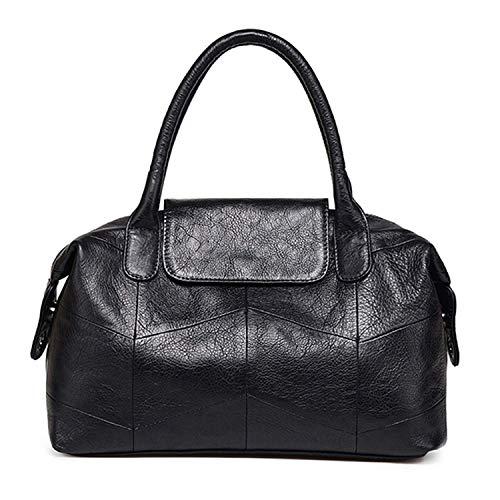 - Women's Purse and Handbag Tote Bag Genuine Leather Top Handle Satchel Purse Crossbody Casual Shoulder Bag Medium (Black)