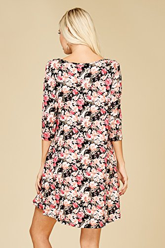 Confortable Col Rond Féminin Annabelle 3/4 Poches Robe Swing Manches Floral_black