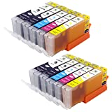 Supricolor 10 Pack Edible Ink Cartridge Replacement for Canon PGI-250XL CLI-251XL (2 Sets) for use with Canon PIXMA iP7220 MG5420 MG5422 MX722 MX922 IX6820 printers for Cake Printing