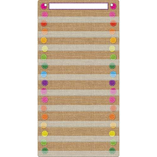 (Ashley Productions ASH94101 Smart Poly Pocket Chart, 10 Pocket, Burlap Stitch, Polypropylene (PP)/Steel, 13