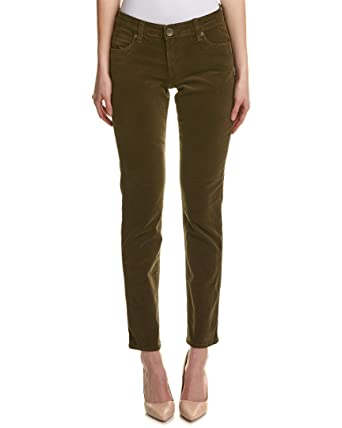 bfc7fd5e3a7 KUT from the Kloth Womens Catherine Solid Cuffed Corduroy Pants Green 2