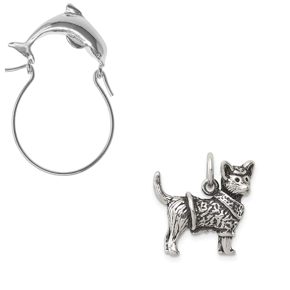 Mireval Sterling Silver Antiqued Dog with Sweater Charm on an Optional Charm Holder