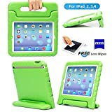 iPad 2, iPad 3, iPad 4 Case– Kids Light Weight Kido Series Multi Function Convertible Handle Kickstand Kids Friendly Protective Shockproof Cover Case with Stand & Handle for Apple iPad 2/3/4 (Green)