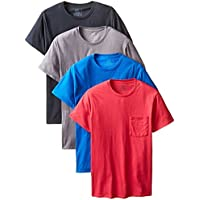 Fruit of the Loom Men's Pocket Crew Neck T-Shirt - Large - Heather Gray (Pack of 4)