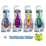 5 in 1 Baby Toddler Toothbrush & Holder | Individual Packs | Teething Teether Gum Massaging Finger Handle and Soft Bristles for Baby Infant Toddler Children - BPA Free