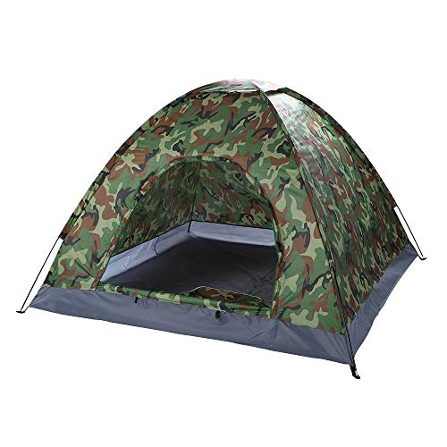 SSLine Camping Tent 2-4 Person Family Dome Tent with Carry Bag Outdoor Portable Hiking Tent Lightweight Waterproof Backpacking Tent Shelter – Camouflage Color