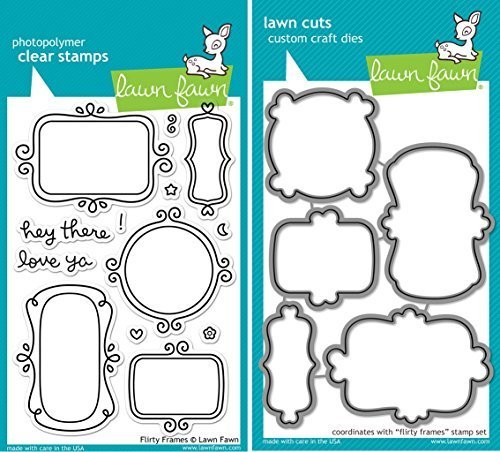 Lawn Fawn Flirty Frames Clear Stamp and Die Set - Includes One Each of LF801 (Stamp) & LF802 (Die) - Bundle of 2 Frames Clear Stamp Set