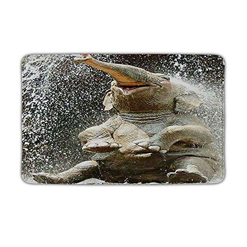 HALLO Non-slip Bath Mat Super Soft Bathroom Rugs Soft Absorbent Bathromm Mat,Elephant Splashing Design, 23 X 15.5