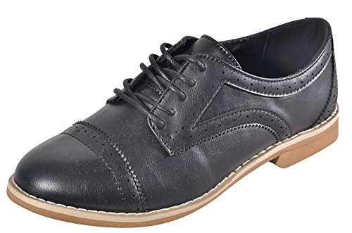 Clearance Sale Simple Alyn Black Designer Leather Oxford Wingtip Lace Up Small Low Flat Heel Closed Toe Cute Modern Loafer Going Back to School Sneaker Shoe for Sale Women Teen Girl (Size 9, Black) by BDshoes