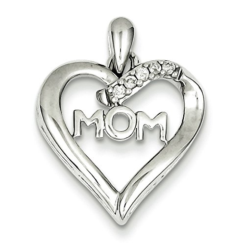 Argent Sterling de diamants bruts Mom coeur-JewelryWeb