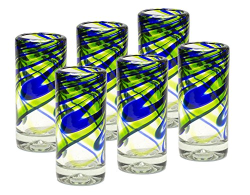 Mexican Hand Blown Glass Blue and Green Shots Tequila Recycled Glass 2 oz - Original Artisan (6 Pack) -
