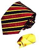 LORENZO CANA Italian 100% Pure Silk Woven Tie Hanky Set Red Blue Gold 7712601