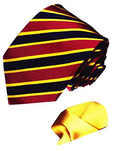 LORENZO CANA Italian 100% Pure Silk Woven Tie Hanky Set Red Blue Gold 7712601 by LORENZO CANA (Image #2)