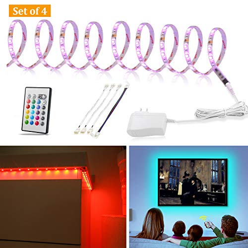 Multi-Color LED Strip Light Kit, 4 Pre-cut Lights Bar With Remote and Adapter, 9.8 ft Color Changing LED for Under Cabinet Lighting, 49-70 Inch TV Bias Lighting,Home Theater Decor,RGB Backlight (Led Light Home Theater)