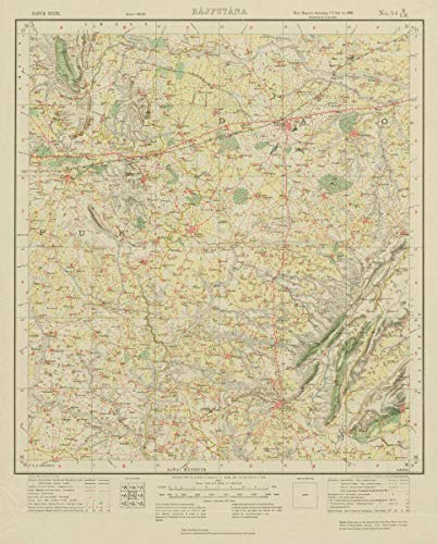 Survey of India 54 B/NW Rajasthan Dausa Lalsot Bassi Bhandrej Lawan - 1924 - Old map - Antique map - Vintage map - Printed maps of India