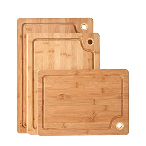 Tabla de cortar de bambú XXL - 45x30x1.8cm Placa de cocina ...