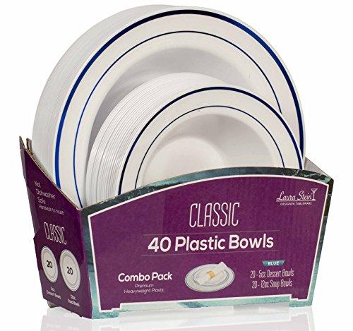 Laura Stein Designer Dinnerware Set   80 Disposable Plastic Party Bowls   White Wedding Bowl with Blue Rim   Set Includes 40 x 12 oz Soup Bowls + 40 x 5 oz Dessert Bowls   Classic Series