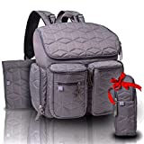 quilted backpack diaper bag - NT BABY Diaper Bag Backpack Multi-Function Waterproof w/ Stroller Straps and Changing Pad , Insulated Pockets, Trendy Designer Travel Bag For Boys & Girls Care - Grey