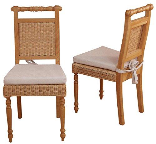 2x Esszimmerstuhl H142, Stuhl Lehnstuhl Rattanstuhl, inkl. Sitzkissen, 96x54x46cm ~ natur