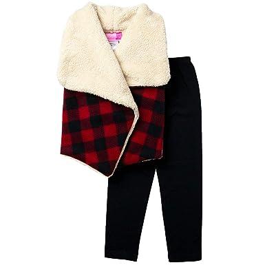 105149a688580 Amazon.com: Good Lad 7/16 Girls Buffalo Plaid Vest and Black Cotton ...