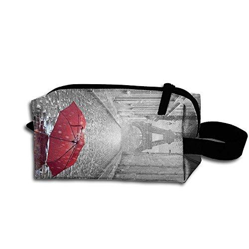 Makeup Cosmetic Bag Paris Red Umbrella Art Zip Travel Portable Storage Pouch For Mens Womens