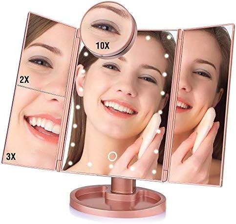 バニティミラー22 LEDタッチスクリーン化粧鏡、10X拡大鏡コンパクトバニティミラー折りたたみミラー旅行