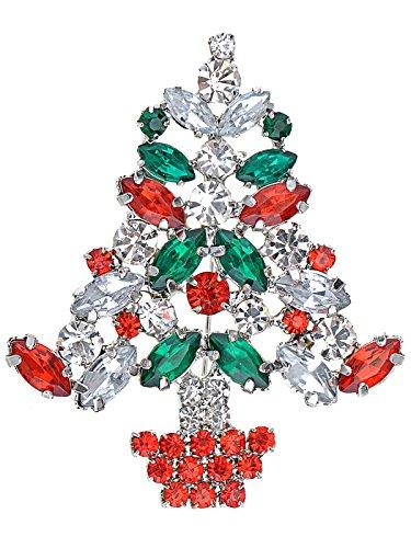 ALILANG Merry Christmas Rhinestone Gem Hanging Lights Holiday Ornament Tree Pin Brooch