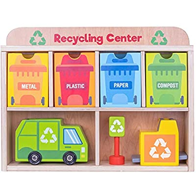 Reduce & Reuse Recycling Center Playset | Wooden Green Garbage Truck Toy, Sorting Bins, and Accessories | Safe, Natural Materials For Environmental Learning, Fine Motor Skills, and Play | 24 Pieces: Toys & Games