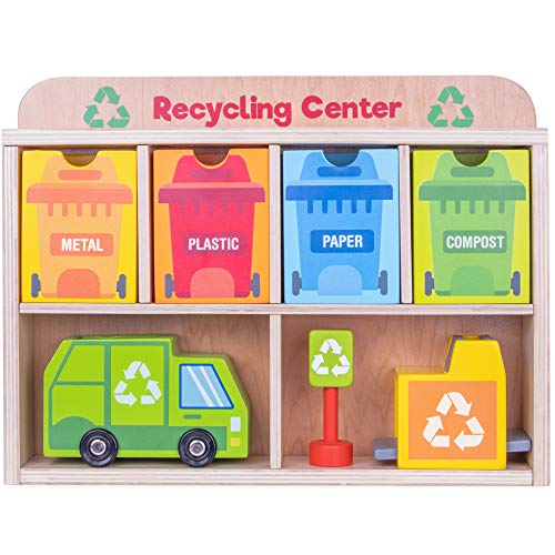 Reduce & Reuse Recycling Center Playset | Wooden Green Garbage Truck Toy, Sorting Bins, and Accessories | Safe, Natural Materials For Environmental Learning, Fine Motor Skills, and Play | 24 Pieces ()