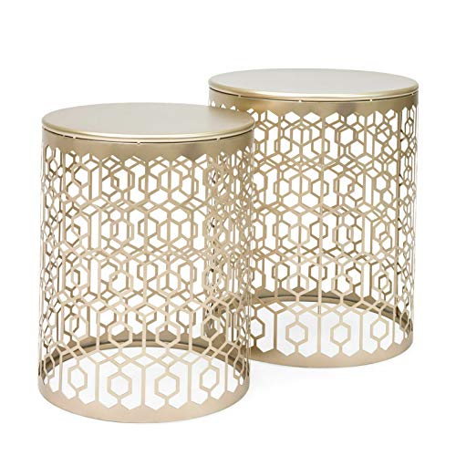 Dokis 2PC Set Round Gold Decorative Accent Sofa Side Table Nightstand Art Deco Vintage | Model SF - - Sofa Art Deco Table