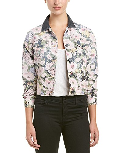 Rebecca Taylor Women's Lavinia Rose JKT, Black/Camellia, S (Taylor Denim Jacket)