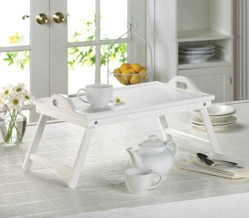 White Chic Folding Shabby Lap Desk Table laptop Tray Books Breakfast Bed - Waterfront In Shops